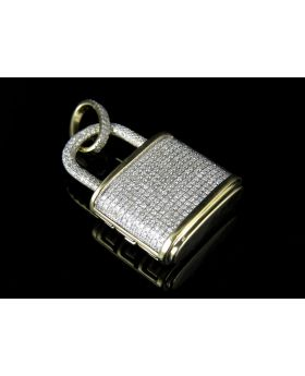 Men's 10K Yellow Gold Lock Genuine Diamond Pendant Charm 1.20 ct 1.5""