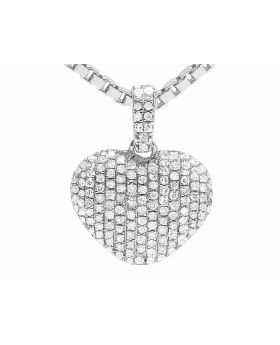 Ladies 14K White Gold Real Diamond Puff Heart Pendant 0.33ct