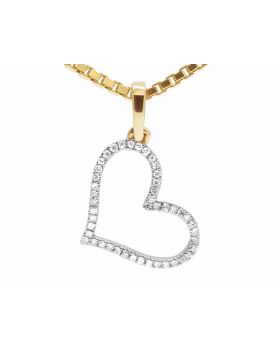 14K Yellow Gold One Row Diamonds Heart Pendant Box Chain 0.12ct