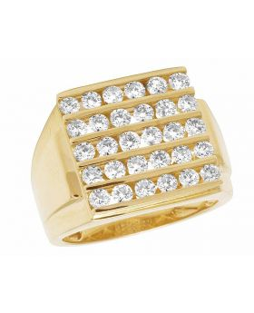 Mens 14K Yellow Gold Real Diamond 5 Row Channel Set Wedding Band Ring 2.0ct 17MM