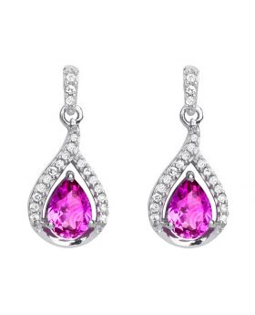 Pink Sapphire Dangle Earrings in White Gold (0.15 ct)