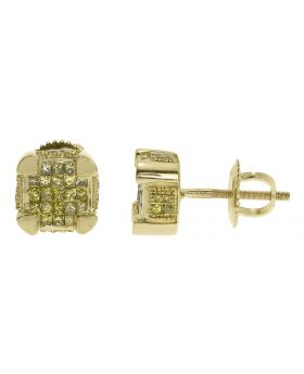 7mm Canary Diamond Cube Earrings in Yellow Gold (0.75 ct)