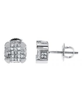 7mm Princess Diamond Cube Earrings in White Gold (0.75 ct)