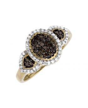 10K Yellow Gold Three Stone Cluster Brown and White Diamond Ring 0.30ct