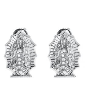 13mm Round Diamond Mother Mary Studs Earrings (0.25 ct)