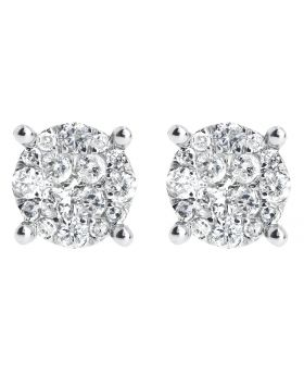 9mm Cluster Round Diamond Earrings in 14k Gold (0.99 ct)