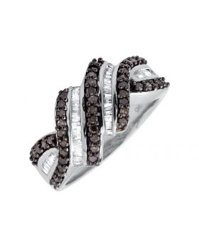 White Gold Finish Swirl Round Baguette Brown And White Diamond Ring 0.78ct