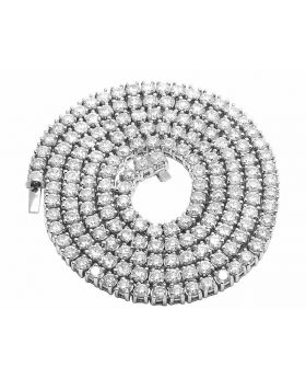 Genuine Diamond Four Prong Set 1 Row Chain 14K White Gold 36.5ct 26""