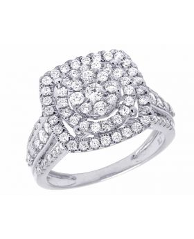 14K White Gold Genuine Diamond Square Halo Ladies Engagement Ring 1 1/4 CT