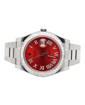 Rolex Datejust II 116300 Watch w/ Red Dial Custom Set Diamonds (4.0 ct)