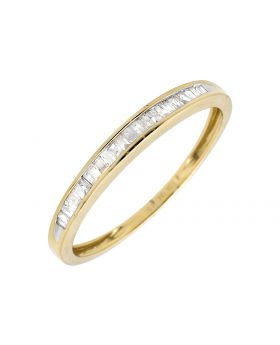 10K Yellow Gold One Row Baguette Diamond Wedding Ring Band 0.15ct