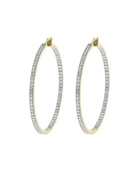 In-Out Design Diamond 40mm Hoops in 10k Yellow Gold (2 ct)
