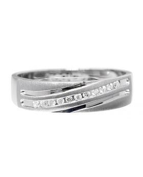 Mens Diamond Wedding Band in White Gold (0.11ct)