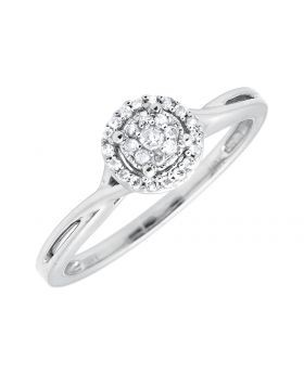 10K White Gold Halo Flower Infinity Engagement Wedding Ring 0.25ct.