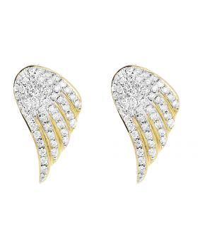 20mm Angel Wing Stud Earrings set in 14k Yellow Gold (1 Ct)