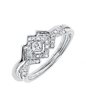 10k White Gold Ladies Princess Round Diamond Bridal Engagement Ring Set (0.25 ct)