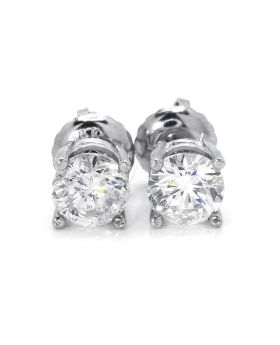 Round Cut Solitaire Stud Earrings in 14K White Gold (1.0 Ct)