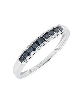 10K White Gold Scallop Heart One Row Blue Diamond Band Ring 1/4ct.