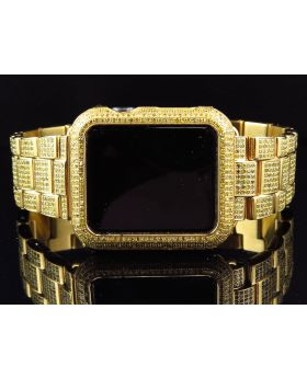 Apple I-Watch Sports Yellow Gold Stainless Steel Canary Diamonds (6.0ct)