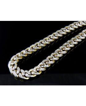 Men's Solid Miami Cuban Real Diamond Chain Necklace 5.0ct 8MM