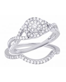 14K White Gold Genuine Diamond Halo Infinity 2 Piece Bridal Ring Set 1/2 CT