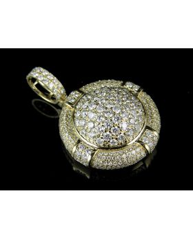 14K Yellow Gold Real Diamond Puff Round Medallion Pendant 4.0ct 1.6""
