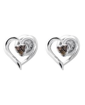 White Gold Finish Heart Trio Brown Cognac Diamond 10MM Earring Stud 0.07ct