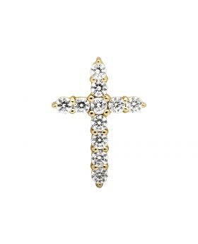 "14K Yellow Gold One Row Cross Round Diamond 1"" Pendant Charm 2.0ct."