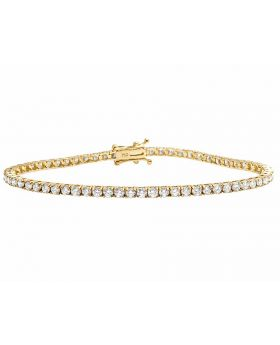 18K Yellow Gold Prong Set Tennis Diamond Bracelet 3.5 Ct