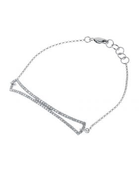 10k White Gold Round Diamond Designer Chain Bracelet (0.50 ct)