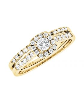 14K Yellow Gold Milgrain Invisible-Set Halo Engagement Wedding Bridal Ring Set (0.50ct)
