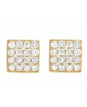 14K Yellow Gold 11MM Round Cut Genuine Diamond Square Stud Earrings 1 1/2 Ct