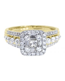 Ladies Engagement Ring with Princess Baguette and Round Diamonds in 14k Yellow Gold (1.25 ct)