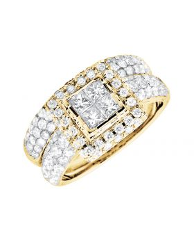 14K Yellow Gold Invisible Quad Square Halo Engagement Wedding Bridal Set 2.26ct