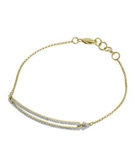10k Yellow Gold Ladies Round Pave Diamond Chain Bracelet (0.55 ct)