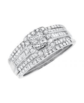 Ladies White Gold Princess Quad/Round/Baguette Diamond Stackable Wedding Ring Set (1.0ct.)
