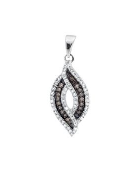 "10K White Gold Marquise Composite Brown and White Diamond 3/4"" Pendant 0.30ct"