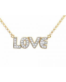 10K Yellow Gold Real Diamond Love Necklace Chain .20 ct