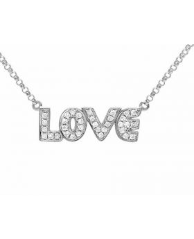 10K White Gold Real Diamond Love Necklace Chain .20 ct