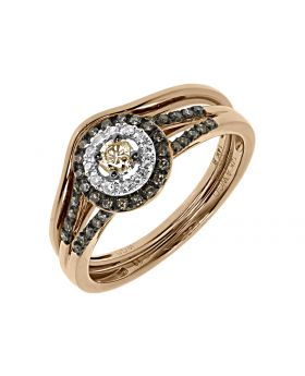 Brown White Diamond Solitaire Bridal Ring Set in 14k Rose Gold (0.33 ct)