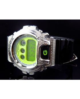 Casio G Shock 6900 Black and White Diamond Watch 3.0 Ct