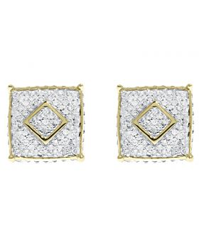 10mm Round Pave Diamond Square Earrings in 10k Yellow Gold (0.25 ct)