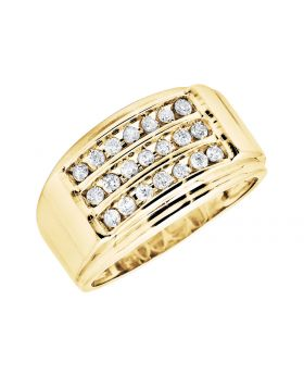 10K Yellow Gold Three Rows Pave Channel-Set Diamond Band Ring (0.50ct)