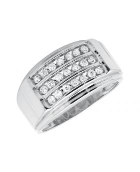 Men's White Gold Three Rows Pave Channel-Set Diamond Band Ring (0.50ct)