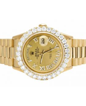Rolex President 18K Yellow Gold Day-Date 36MM Diamond Watch 5.5 Ct