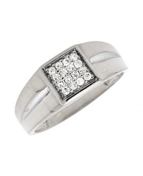 10K White Gold Pave Diamonds Squared Top Pinky Ring (0.25ct)