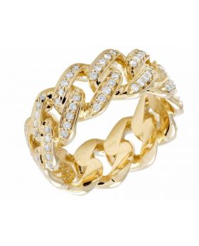 10K Yellow Gold Miami Cuban Link Real Diamond Eternity Band Ring 1.38 ct 10MM