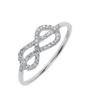 Diamond Infinity Knot Ring in 10k White Gold (0.17 ct)