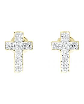 13mm Round Pave Diamond Cross Earrings Studs in 10k Yellow Gold (0.20 ct)