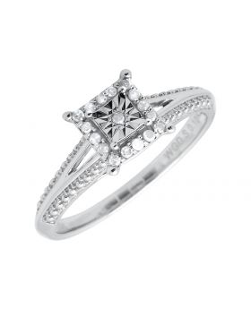 Ladies White Gold Miracle Set Squared Halo Diamond Beaded Engagement Ring (0.05ct)